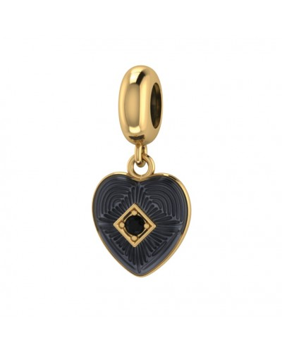 Endless Gold Plated Sterling Silver JLo Black 'Big Heart' Infinity Bead Charm 3875-1