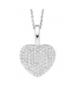 Ti Sento Sterling Silver & Cubic Zirconia Pave Heart Pendant 6745ZI