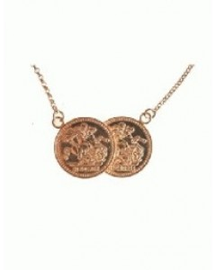 Rose Gold Plated Sterling Silver Double Coin Necklet BT2005