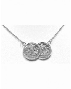 Sterling Silver Double Coin Necklet BT2003