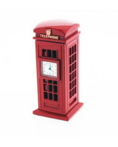 Miniature Telephone Box Mantel Clock 9756