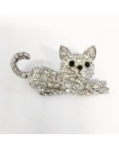 Rhodium Plated CZ Cat Brooch B6435