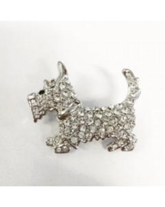 Rhodium Plated CZ Scottie Dog Brooch B6458