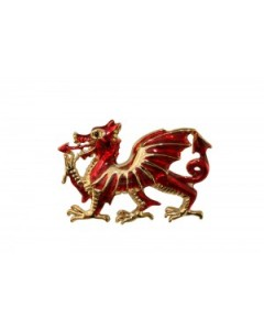 Gold Plated Enamel Welsh Dragon Brooch B6609