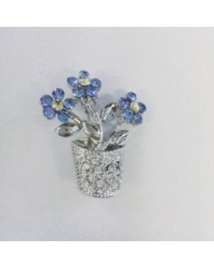Rhodium Plated CZ Forget-Me-Not Pot Brooch B6627