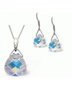 Byzantium Crystal Flame Pendant & Earrings Set 257D