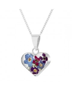 Byzantium Sterling Silver Real Flower Heart Violet Mix Pendant F377