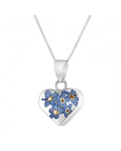 Byzantium Sterling Silver Real Flower Heart Forget-Me-Not Pendant F380