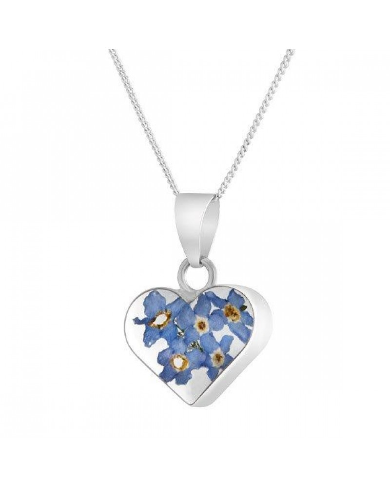 Sterling silver real flower heart forget me not pendant f380 byzantium sterling silver real flower heart forget me not pendant f380 aloadofball Image collections