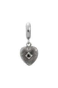 Endless Sterling Silver JLO 'Big Heart' Black CZ Drop Bead 1350-1