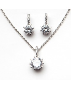 Espree Sterling Silver CZ Solitaire Pendant-Earring Set 1564