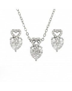 Espree Sterling Silver CZ Heart Pendant-Earring Set 1730