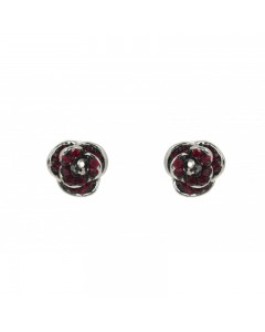 Espree Rhodium Plated Crystal Poppy Earrings 1922