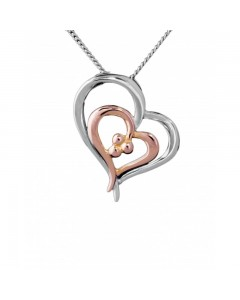 Espree Sterling Silver & Rose Gold Plate Double Heart Pendant 5189