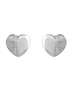 Espree Sterling Silver Contrast Heart Earrings 5424
