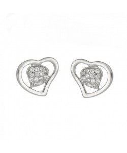 Espree Sterling Silver Double Heart CZ Stud Earrings 5555