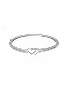 Espree Sterling Silver Double Heart CZ Bangle 5577