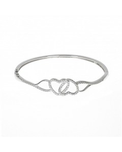 Espree Sterling Silver Double Heart CZ Bangle 5646