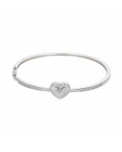 Espree Sterling Silver Pave CZ Heart Bangle 5647