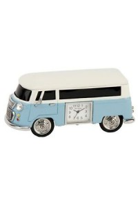 Miniature Blue & White Campervan Clock 9710BL