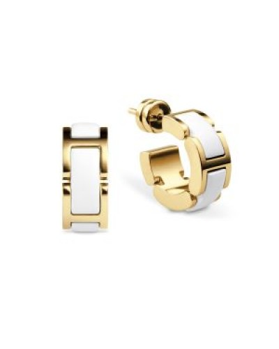 Bering Gold Plated White Ceramic Hoop Earrings 702-25-05
