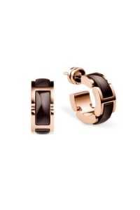 Bering Rose Gold Plate Brown Ceramic Hoop Earrings 702-39-05