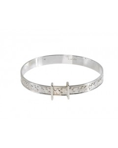 Sterling Silver Embossed Teddies Bangle STED