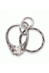 Sterling Silver Two Rings Charm SC1214
