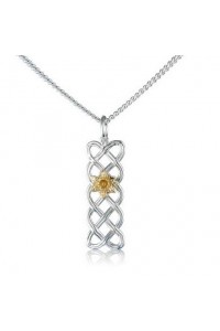 Cymru Gold Sterling Silver And 9ct Gold Daffodil Celtic Knot Pendant SWP100
