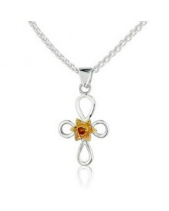 Cymru Gold Sterling Silver And 9ct Gold Daffodil Cross Pendant SWP12