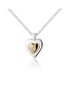 Cymru Gold Sterling Silver And 9ct Gold Diamond Heart Of Gold Pendant SWP16