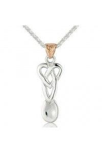 Cymru Gold Sterling Silver And 9ct Gold Lovespoon Pendant SWP17
