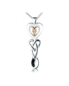Cymru Gold Sterling Silver And 9ct Gold Diamond Lovespoon Pendant SWP5