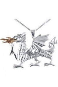 Cymru Gold Sterling Silver And 9ct Gold Large Fiery Dragon Pendant SWP53