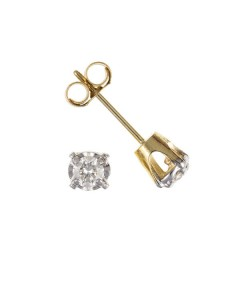 9ct Gold Claw Set Diamond Stud Earrings DIA27