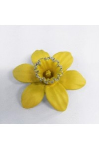 Rhodium Plated Medium Daffodil Brooch B6611 Rhod
