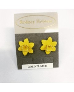 18ct Gold Plated Daffodil Stud Earrings E4701 Gold