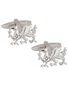 Rhodium Plated Welsh Dragon Cufflinks 90 1080