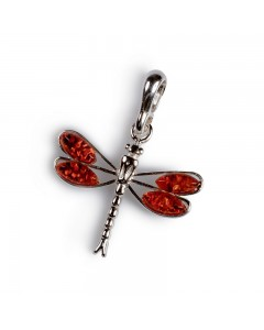 Henryka Sterling Silver Amber Small Dragonfly Pendant 6P079-S-C-COS