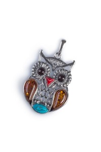 Henryka Sterling Silver Amber Feathered Owl Pendant PH708-CTQCH-BU-CH