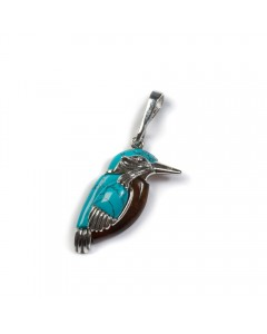 Henryka Sterling Silver Amber Kingfisher Pendant PH800-S-AAG