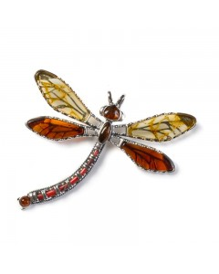 Henryka Sterling Silver Amber Exotic Dragonfly Pendant PH802-YC-AAG