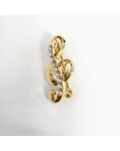 Gold Plated Treble Clef Brooch B6529 Gold