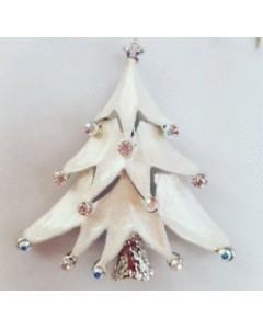 Rhodium Plated White Christmas Tree Brooch B6598