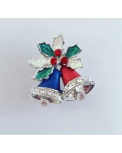 Rhodium Plated Jingle Bells Brooch B6639