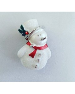 Rhodium Plated Snowman Brooch B6641