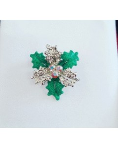 Rhodium Plated Holly Brooch B6686