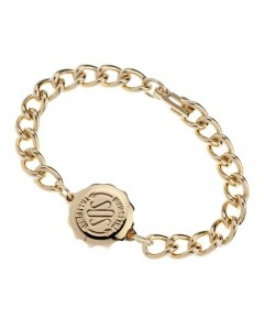 SOS Talisman Gold Plated Gents Plain Bracelet 232 313