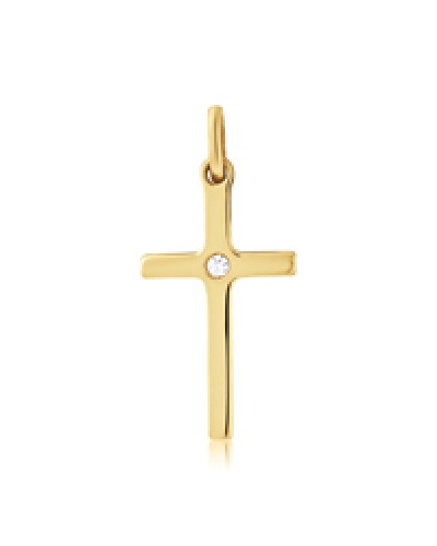 9ct Gold 20x12mm Solid Diamond Set Cross CR244