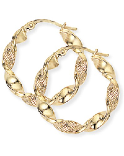 9ct Gold Twisted Ribbon Hoop Earrings E479